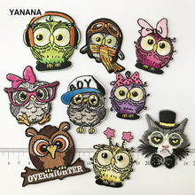 Owl Patches for Clothing DIY Stripes Applique Clothes Stickers Iron on Creative Badges Parches russia logo letter embroidered patches for clothing diy stripes applique clothes stickers iron on creative badges biker parches
