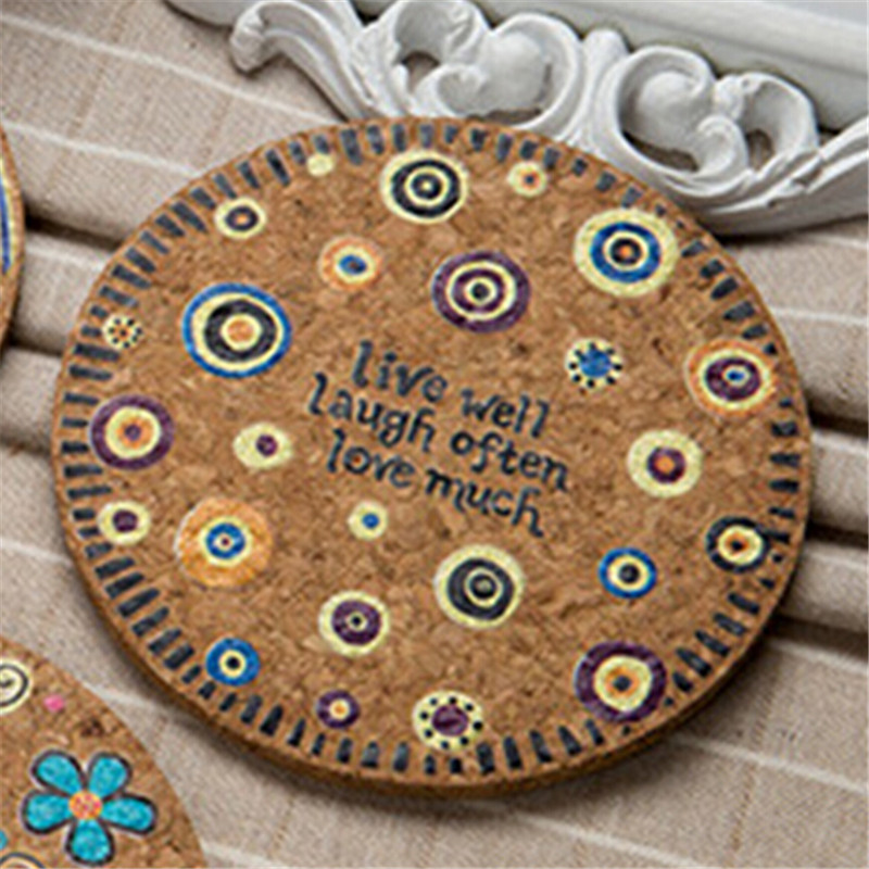 4Pcs Natural Cork Round Cup Mat Drink Coasters Heat Insulation Patterned Pot Holder Mats for Coffee Table Tabletop Mixed in Mats Pads from Home Garden