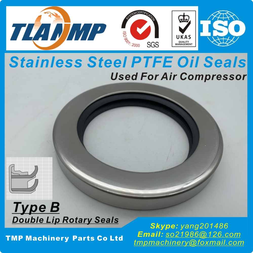 Inner size 75/80/85/90/95/100/105/120/125mm Dual Lip Rotary Seals ,Type B Stainless steel PTFE Oil Seals Used for Air Compressor