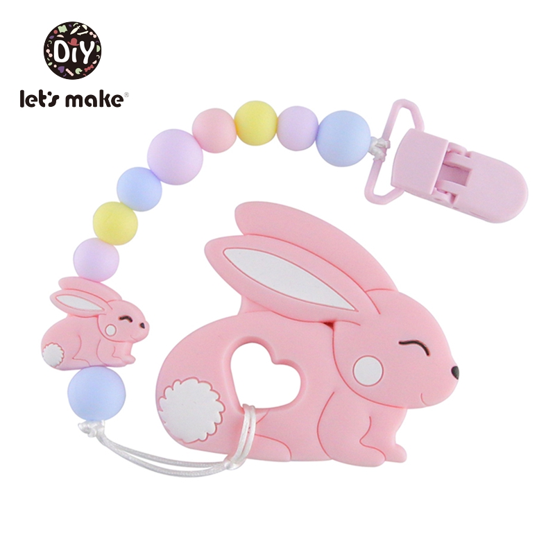 Let's Make Silicone Teether Rabbit 50pc Silicone Beads Cartoon Toys DIY Beads For Teether Toy For Children's Toy Baby Teether