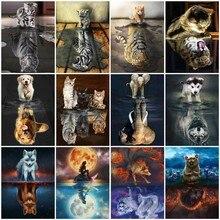 цена на HUACAN Diamond Painting Cat Diamond Embroidery Tiger 5D DIY Diamond Mosaic Animal Elephant Dog Full Round Square Home Decor