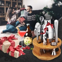 9cs Cocktail Shaker Stainless Steel Cocktail Whisk Bar Tools Wine Shakers Bar Tet Tools Rotating Wooden Storage Stand Framework
