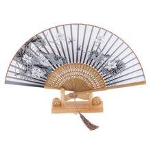 Шелковый ручной вентилятор лотос Складной вентилятор бамбук-серый