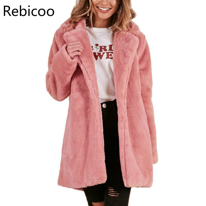 Autumn Winter Women Faux Fur Coats Pink Shaggy Streetwear Warm Jackets Plush Teddy Coat Female Plus Size Overcoat Party