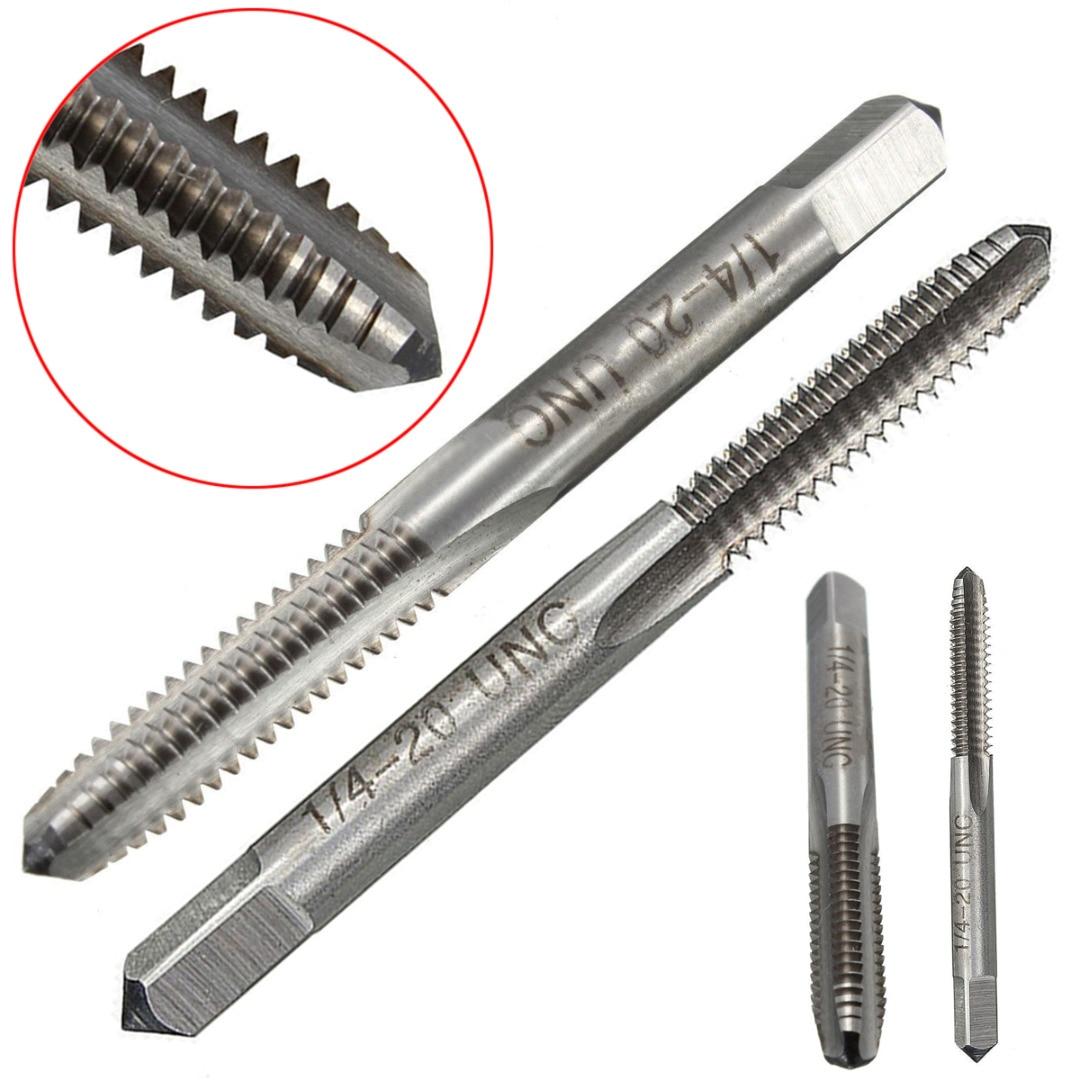 1pc 1/4-20 UNC-2B Right Hand Tap HSS Spiral Point Straight Flute Thread Drill Screw Tap 70mm