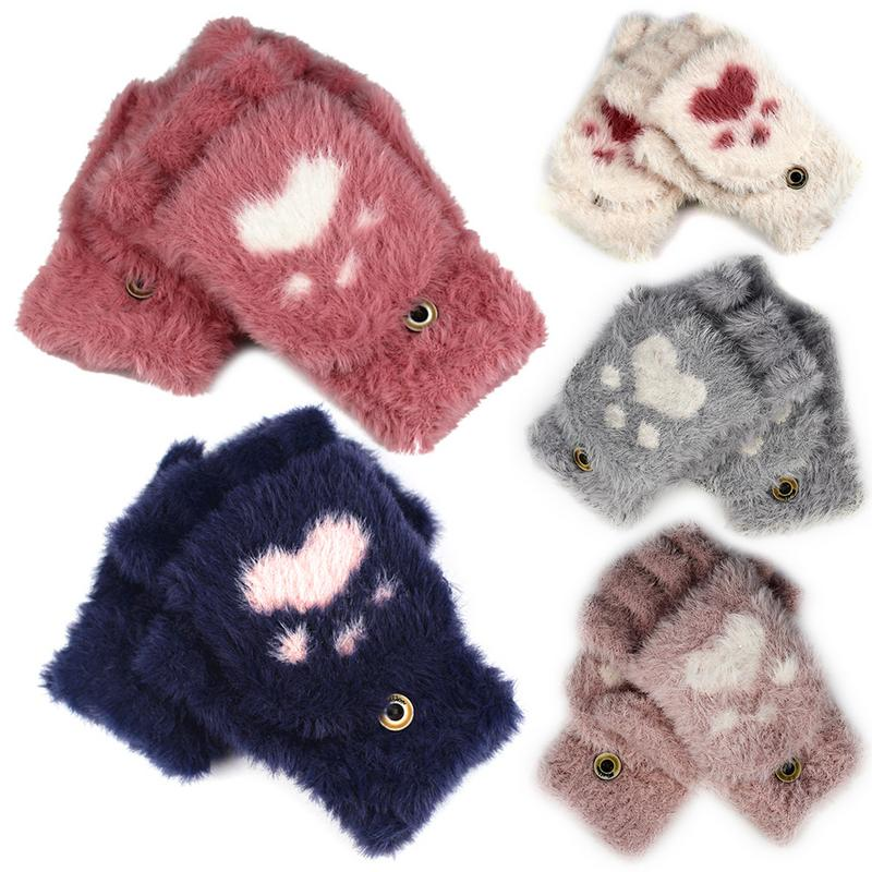 New Women Girls Lovely Autumn Winter Warm Fingerless Gloves Fluffy Cat Plush Paw Claw Half Finger Gloves Mitten Women