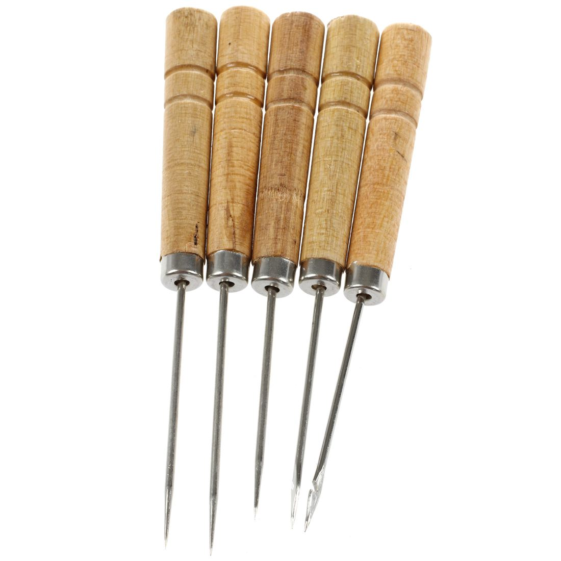 5 Pcs Wooden Handle Metal Curved Needle Hand Needleer Sewing Awl