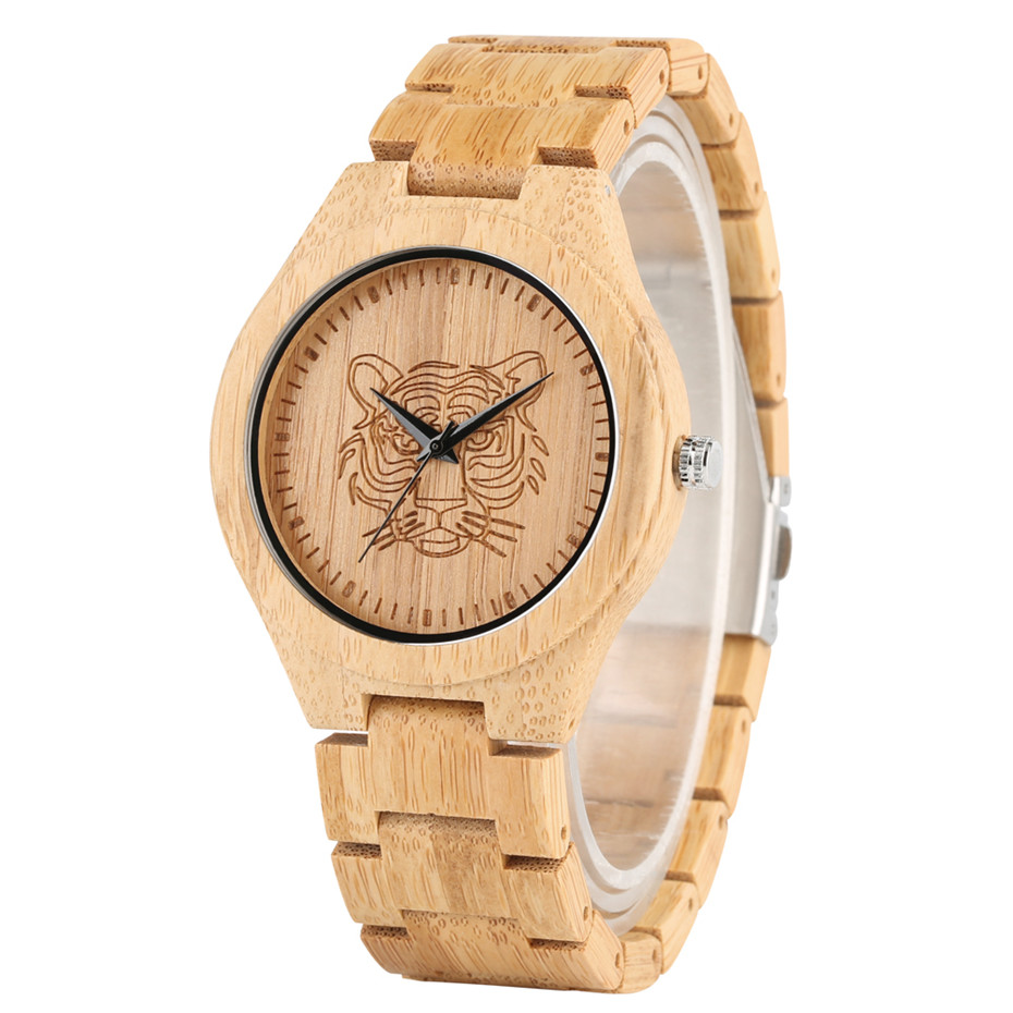Full Wooden Quartz Timepiece Engraved Tiger Head Wood Mens Watch Unique Natural Bamboo Bangle Wristwatch Top Gift for Male reloj
