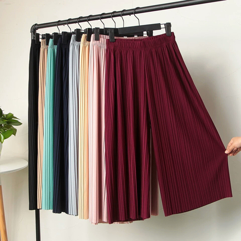 Women High waist pleated chiffon wide leg pants Summer Loose Flared Elegant Trumpet Solid Color Elastic Casual Trousers Skirt