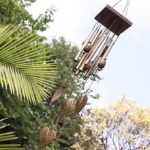 Carillón de viento de Metal con forma de corazón para decoración del hogar, carillón de viento de 8 tubos, adorno colgante para el jardín