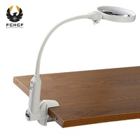 FGHGF White 2X 5X Clip Type Dual Use White Plastic Desk Light Table Lamp LED Desktop Multi function Magnifier