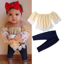 cbc9f353ee824 Sevimli Bebek Kız Şık Kıyafeti Kapalı Omuz Dantel Çiçek Bebek t-shirt  Toddler Uzun Mavi Kot Pantolon Yaz Çocuk Giyim