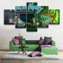 Home Decor Canvas Print Poster Animated Science Fiction Comedy Rick and Morty Painting Wall Art 5 Piece Oil Picture