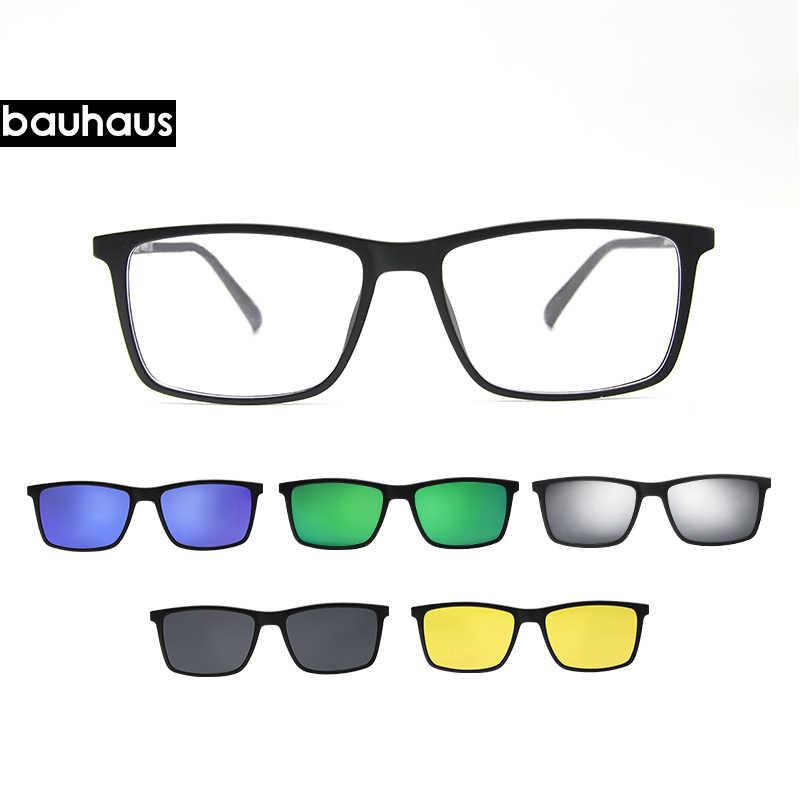 57dff877bd4f1 ... Bauhaus clip on glasses design Polarized Magnet Clip glasses men magnet  frame Myopia Glasses Prescrioption Optical ...
