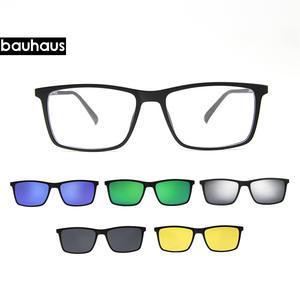 e585c7ae79b Bauhaus Brand designer Polarized Magnet Clip glasses men magnet frame  Myopia Glasses Prescrioption Optical sunglasses