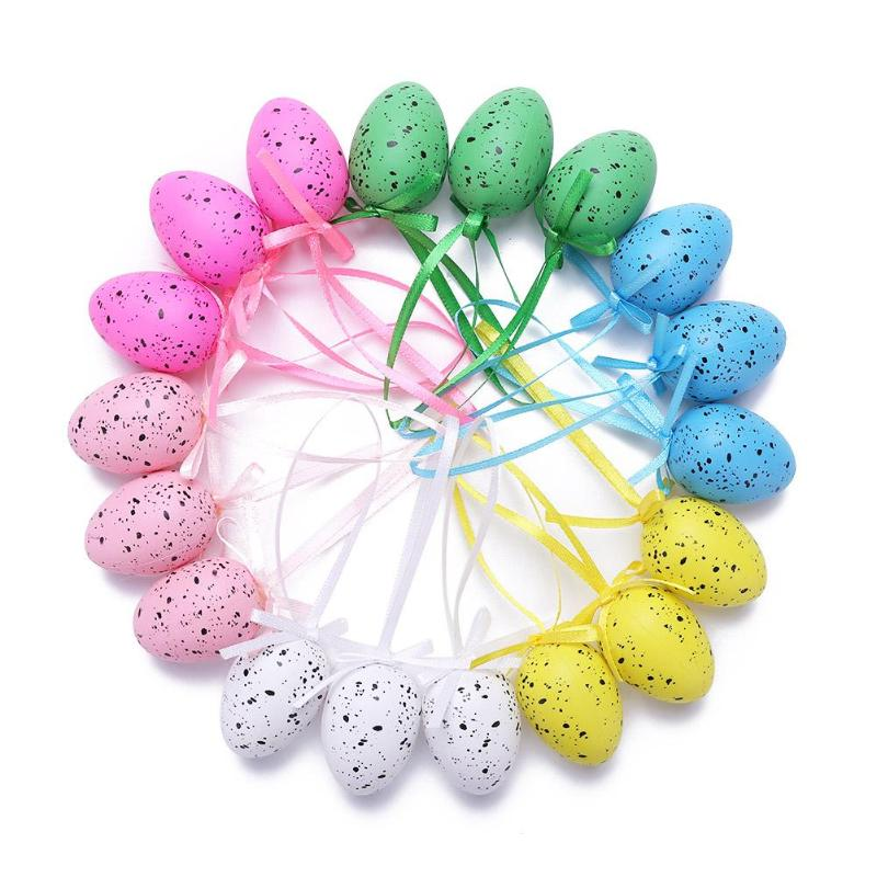 18pcs Plastic Easter Eggs Hand Painted Easter Decorative Toys Kids Pendant DIY Painted Children Toy Gift For Children Ornaments