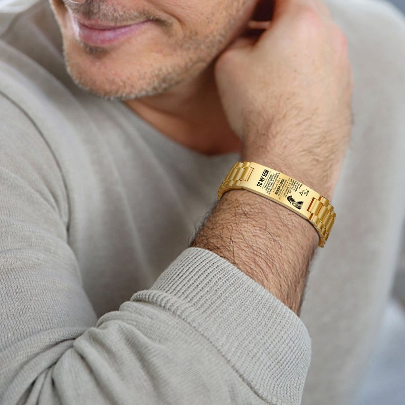 Personalized Men Bracelet Stainles Steel In Gold Color Custom Text TO MY SON Mens Accessories