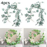 2x Artificial Eucalyptus Leaves Vine+2x Simulated Willow Leaf Rattan Home Decor