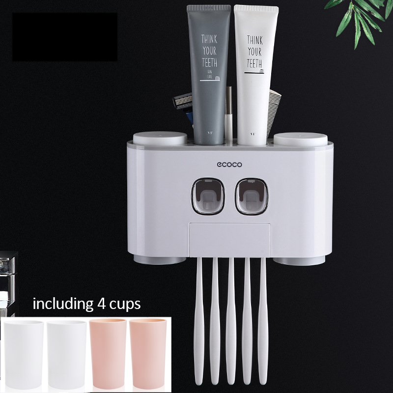 Bathroom Accessories Modern Stylish Wall Paste Mounted Toothbrush Holder Toothpaste Dispenser Toothpaste SqueezerBathroom Accessories Modern Stylish Wall Paste Mounted Toothbrush Holder Toothpaste Dispenser Toothpaste Squeezer