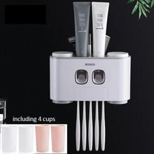 Аксессуары для ванной комнаты Современная стильная Наклейка на стену монтируется держатель зубной щетки дозатор зубной пасты соковыжималка