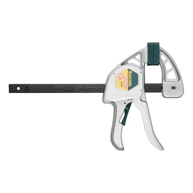 Струбцина универсальная быстрозажимная KRAFTOOL 32228-15 (Длина захвата 150мм, длина разжатия 350 мм, прижимное усилие 200 кг, пистолетный механизм, пластиковые накладки на губках)