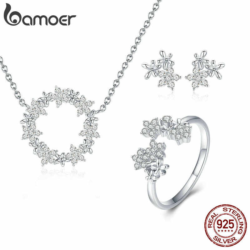 BAMOER 925 Sterling Silver Jewelry Sets Clear Cubic Zircon Shining Star Necklace Women Ring Jewelry Set Luxury Jewelry ZHS097