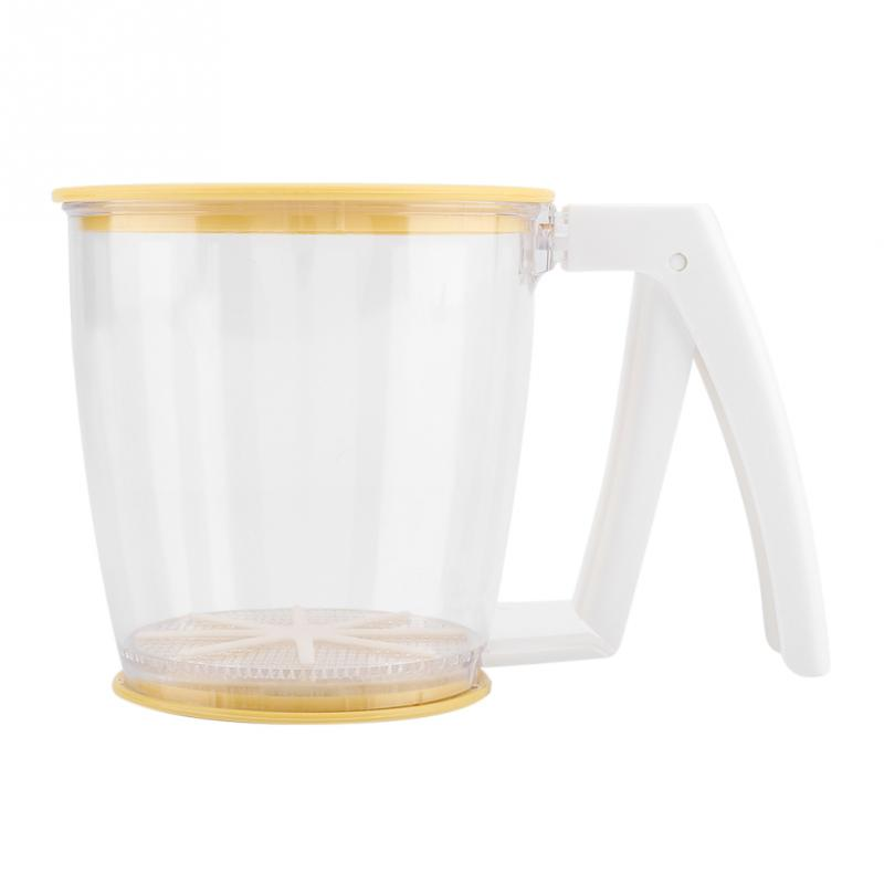 Hand-held Cup Flour Sifter Strainer Powder Mesh Sieve Baking Supplies Tools with Lid Flour Sifter PP