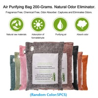 5 Packs Air Purifying Bags Nature Fresh Style Charcoal Bamboo Mold Odor Purifier Bamboo Charcoal+Non woven Fabric