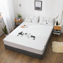 100% cotton Fitted sheet Deep 30cm Mattress Cover Corners With Elastic Band Bed Sheet Printed Bedding Free shipping