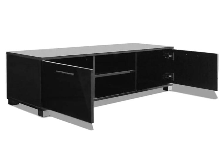 VidaXL Glossy Zwarte TV Kast Modern Design Woonkamer Meubels TV Stands Met 4 Kabel Outlets Stevige Constructie - 4