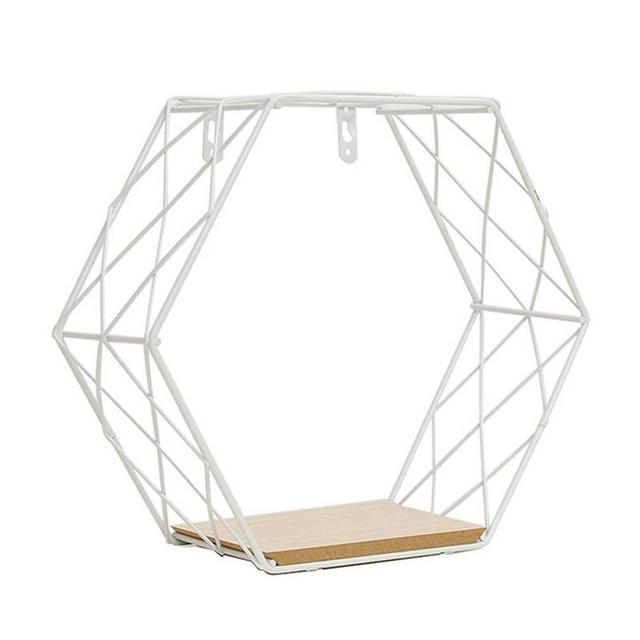 Iron Hexagonal Grid Wall Shelf Combination Wall Hanging Geometric Figure Wall Decoration For Living Room Bedroom 5