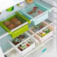 Kitchen Fridge Organizer Freezer Space Saver Organizer Storage Rack Shelf Holder Pull-out Storage Drawers