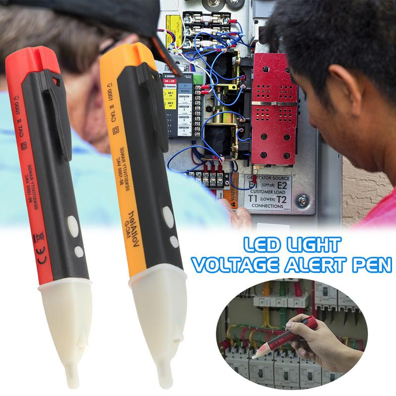Non-Contact Voltage Tester Detector Double Button Inductive Type Voltage Test Pencil LED Light Voltage Alert Pen Without Battery