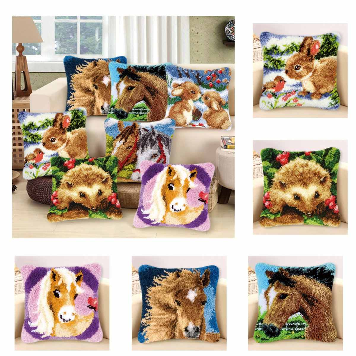 Cartoon Cushion Latch Hook Kit Flannel Pillow Mat DIY Craft Horse Rabbit Cross Stitch Needlework Crocheting Cushion Embroidery