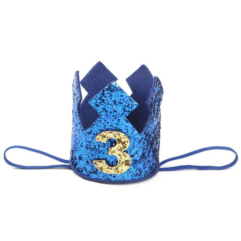 Blue Gold Boy First Birthday Hat Glitter Princess Crown Number 1 2 3Year Old