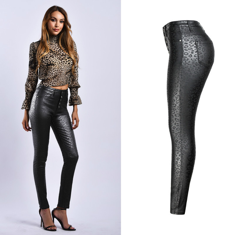 High Waist Leopard Pu Leather Pants Women Sexy Skinny Faux Leather Pants Woman Trousers in Pants amp Capris from Women 39 s Clothing