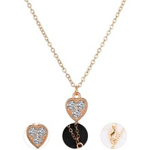 2019 New Women Fashion Necklace Heart Design With 3 shinning Rhinestone Romantic Wedding Jewelry Fashion Gifts Women Necklace rhinestone heart shape romantic necklace for women