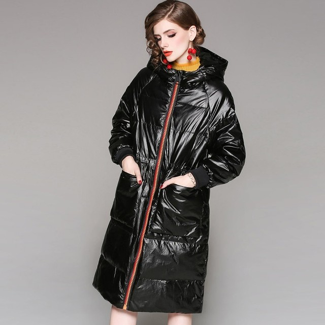 Glossy Fashion Long 90% White Duck Jacket 2018 Hooded Winter Jacket Coat Women Plus Size Glossy Feather Overcoat Female Ls224