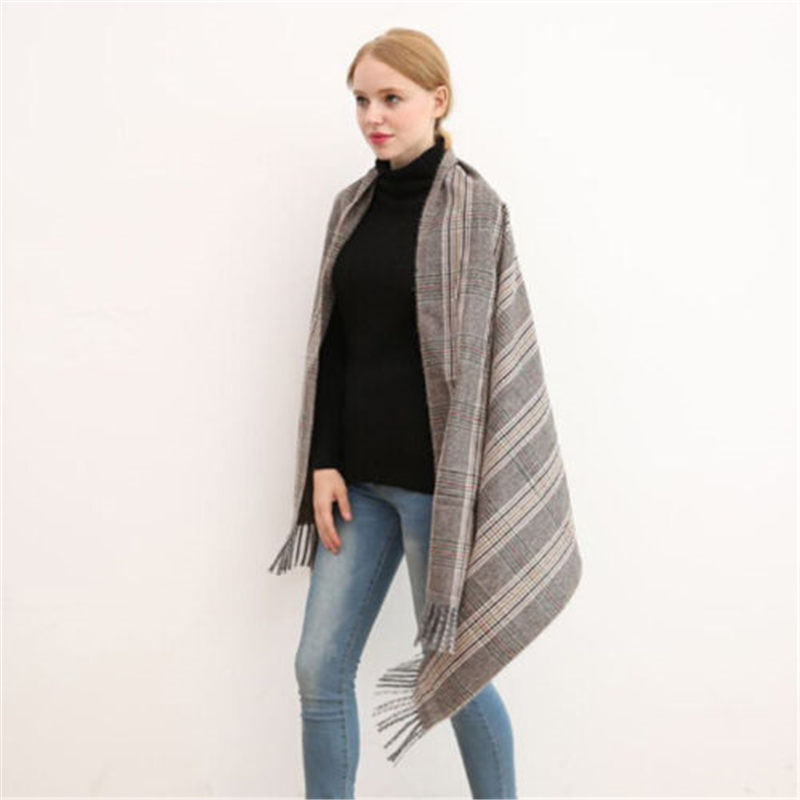 Hirigin Women Lady Tartan Check Neck Shawl Scarf Wrap Fashion Autumn WInter Warm Cashmere Female Stole Plaid Pashmina Wholesale