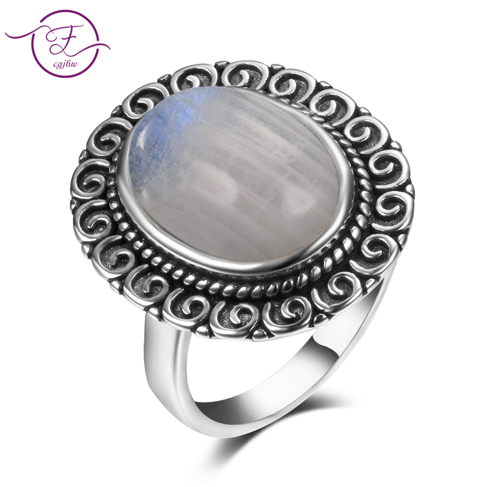 Charms 10x14MM Natural Rainbow Moonstone Rings Womens 925 Sterling Silver Jewelry Ring Vintage Anniversary Party Gifts For Wome