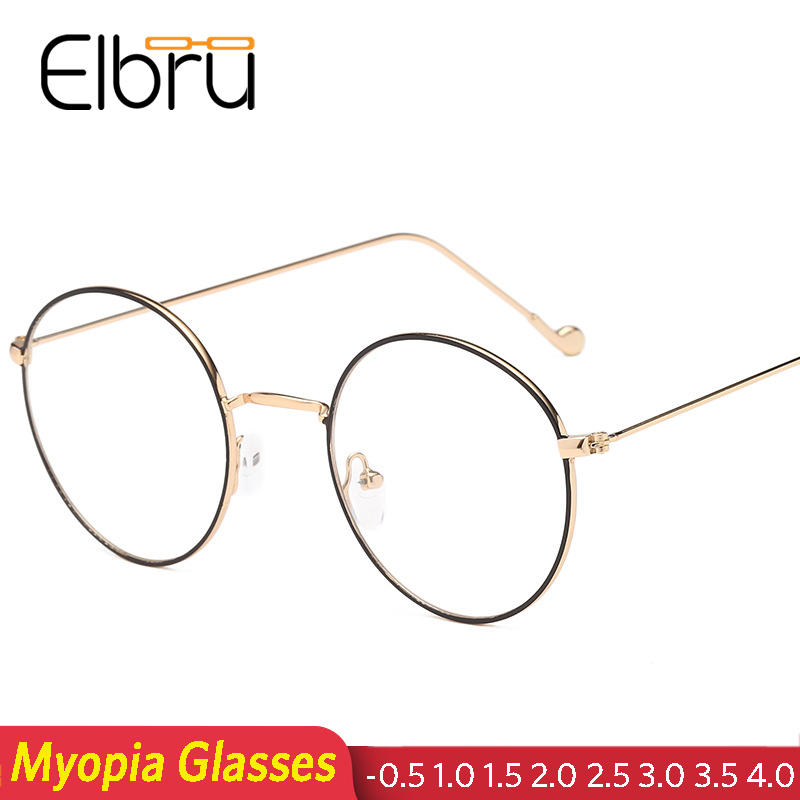 Elbru Retro Round Clear Glasses Frame Women Men Spectacles Myopia Eyeglasses Metal Gold Frame Nerd Optical Glasses -0.5 To 4.0