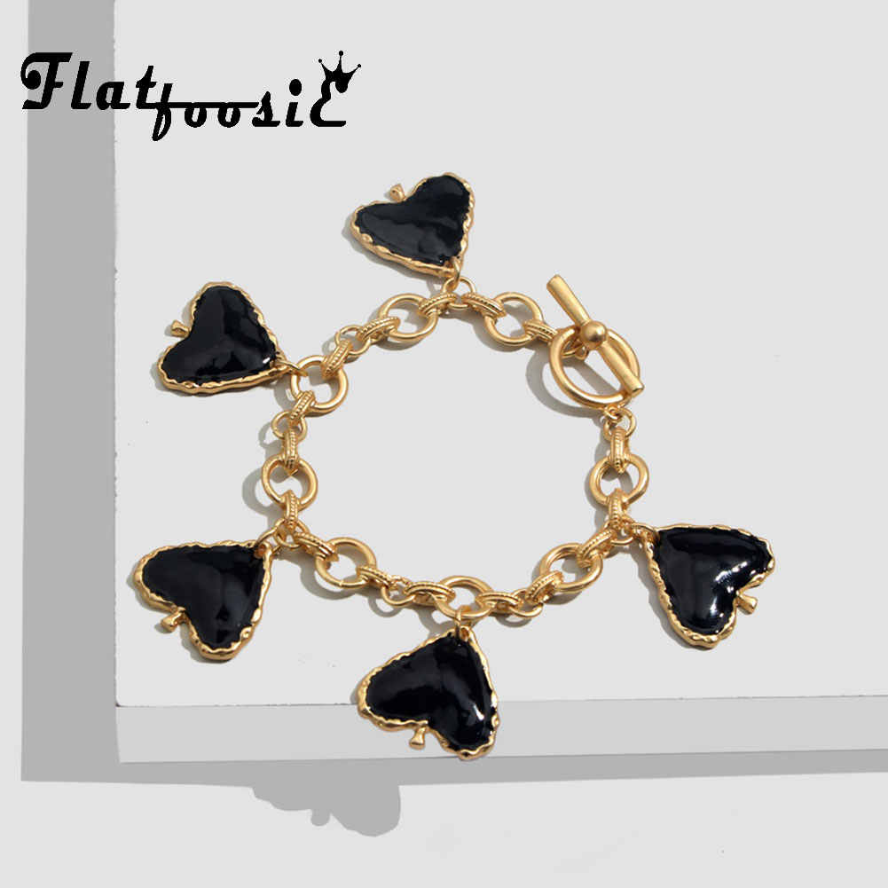 Flatfoosie ZA Heart Bracelets Bangle For Women Boho Black Geometric Gold Color Chain Bracelet Fashion Jewelry Wedding Party Gift