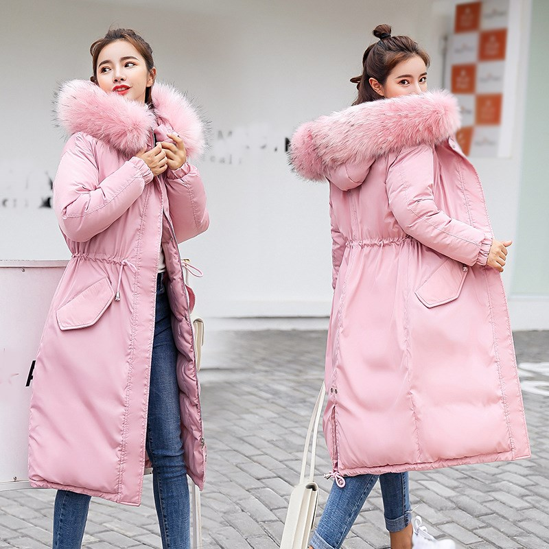 2019 New Fashion Women Long   Parka   Coat Thick Warm Cotton Padded Coat Ladies Slim Long Sleeve Fur Collar Coat Outwear