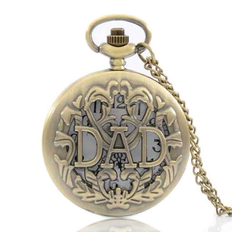 IBEINA Father's Day Gift Dad Pocket Watch Quartz Engraved Fob Retro Pendant Pocket Watch Chain Gift For Men And Women