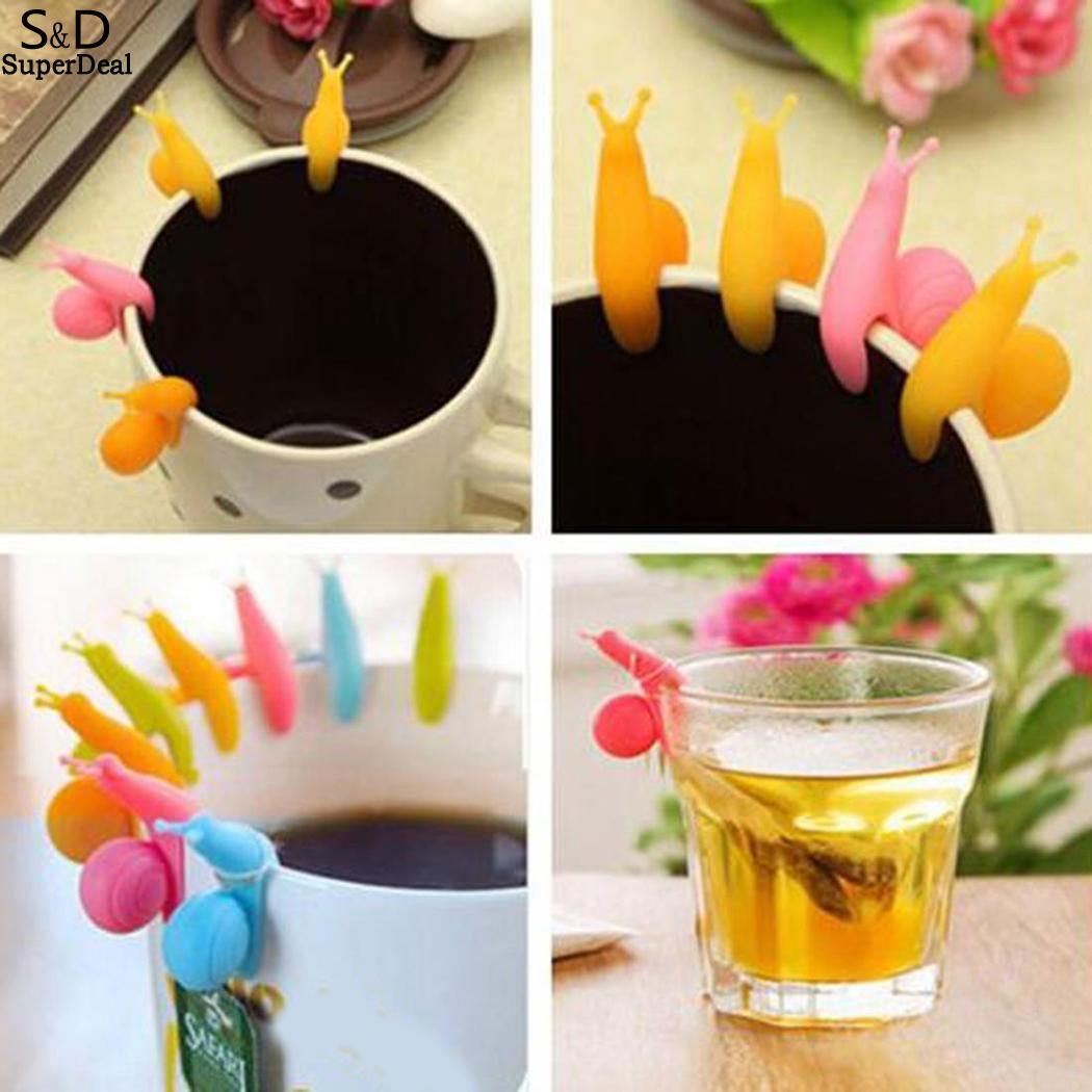 Pack Clips Bag Silicone Shape Snail Cup Holder Picture Hanging Tea Tea Of Tool As Cute 5Pcs