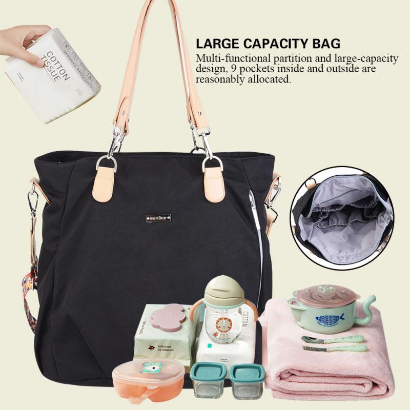 Insular Fashion Large Mommy Shoulder Bag Waterproof Multi functional partition Travel Diaper Bags for Baby Care