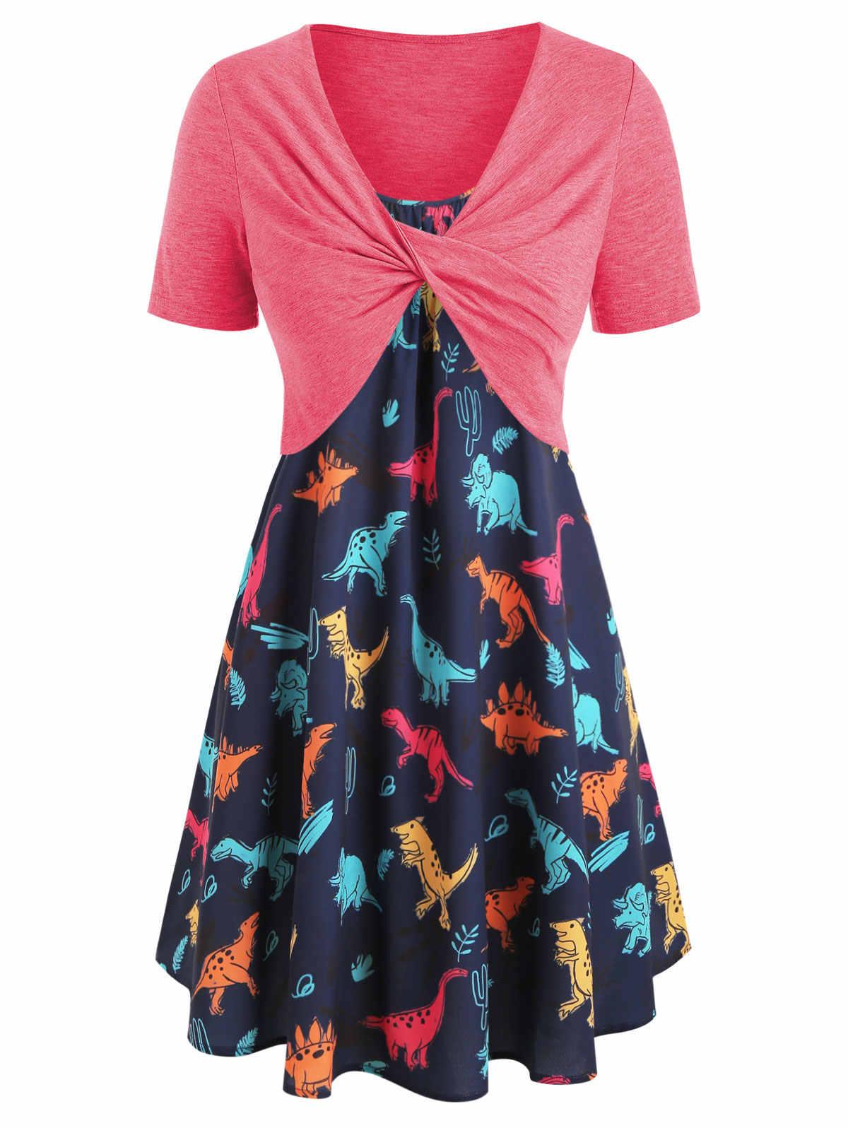 Wipalo размера плюс с принтом динозавра гофрированное платье с крученым топом А-силуэта женское платье с высокой талией на бретельках летнее платье с принтом в виде животного