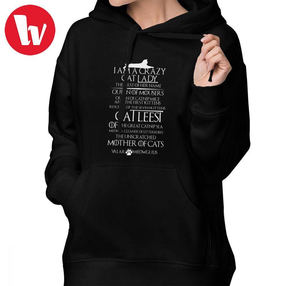 Game Of Thrones Hoodie Catleesi Mother Of Cats White On Black Version Hoodies Long-sleeve Big Size Hoodies Women Pullover Hoodie