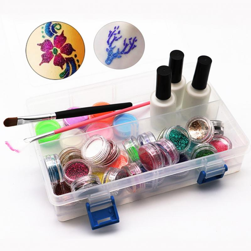 1 Set Glitter Tattoo Kits Complete Box Waterproof Temporary tattoo stencil Body Painting Kit Brushes Glue Stencils1 Set Glitter Tattoo Kits Complete Box Waterproof Temporary tattoo stencil Body Painting Kit Brushes Glue Stencils