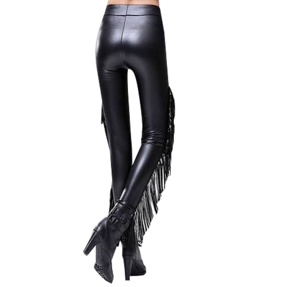 Women Fashion Tassels Patchwork PU Leather   Pants   Solid High Waist Elastic Pencil   Pants   Casual Plus Velvet Trousers